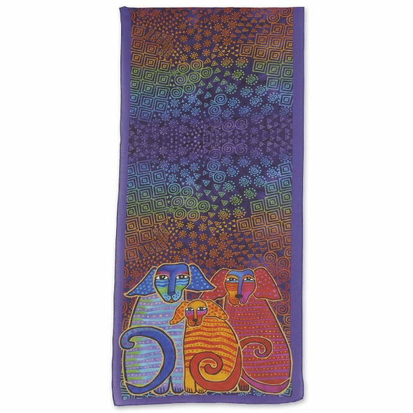 Laurel Burch Doggie Family Scarf – Modal and Silk – LBS217