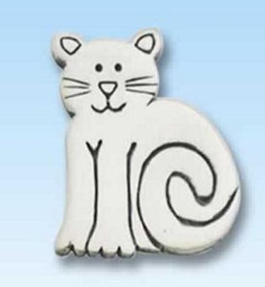 Cat Sitting Pewter Pin - 2541CP