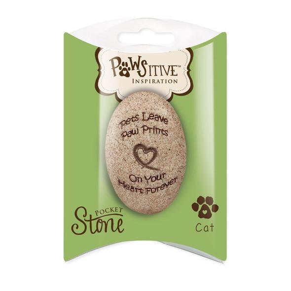 CAT Memorial Pocket Stone Paw Prints on My Heart 49720C