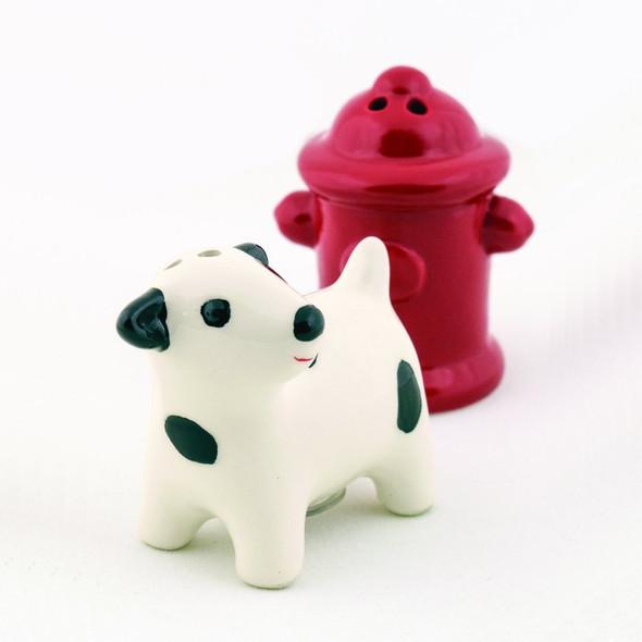 Dog at Hydrant Ceramic Salt & Pepper Shakers 90187