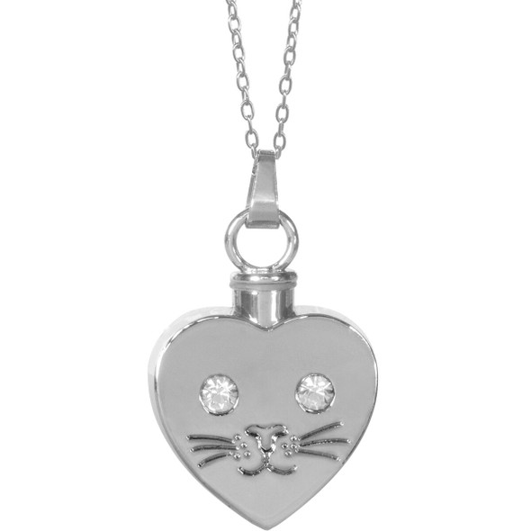 Beloved Cat Face Keepsake Pendant Urn Memorial Necklace 46506