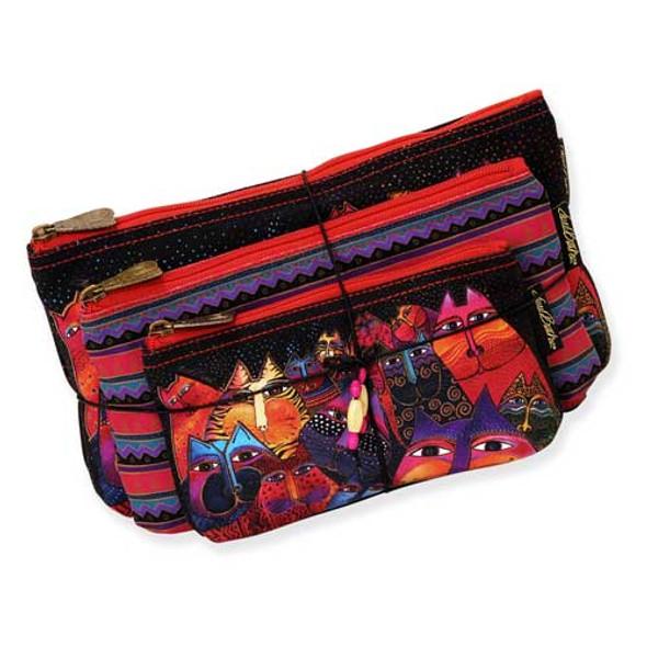Laurel Burch Fantasticats 3 BAG SET Cosmetic Bags LB5331