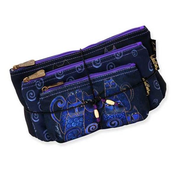 Laurel Burch Indigo Cats 3 BAG SET Cosmetic Bags LB5332