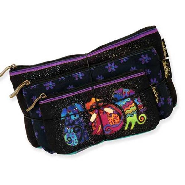 Laurel Burch Dog & Doggies 3 BAG SET Cosmetic Bags LB5335