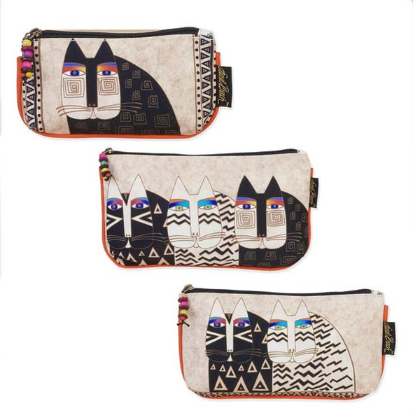 Laurel Burch Set of 3 Cosmetic Bag Wild Cat Faces