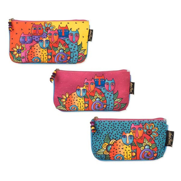 Laurel Burch Three in One 3 in 1 Cosmetic Bag Set Feline Clan Cat Dots