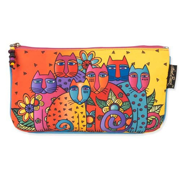 Laurel Burch Three in One 3 in 1 Cosmetic Bag Feline Clan Cat Dots Large