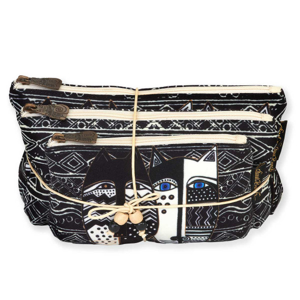 Laurel Burch Set of 3 Cosmetic Bag Wild Cat Black White LB5804