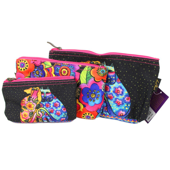 Laurel Burch Dog Cat Kindred Friends 3 BAG SET Cosmetic Bags