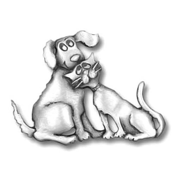 Dog & Cat Loving Pewter Pin 2622PP