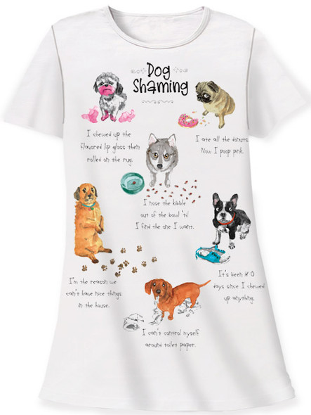 Dog Theme Sleep Shirt Pajamas - Dog Shaming - 355OT