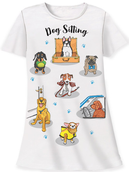 Dog Theme Sleep Shirt Pajamas - Dog Sitting - 155OT