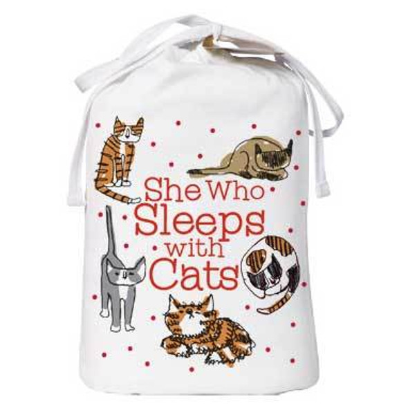 Cat Theme Sleep Shirt Pajamas She Who Sleeps with Cats - 631T
