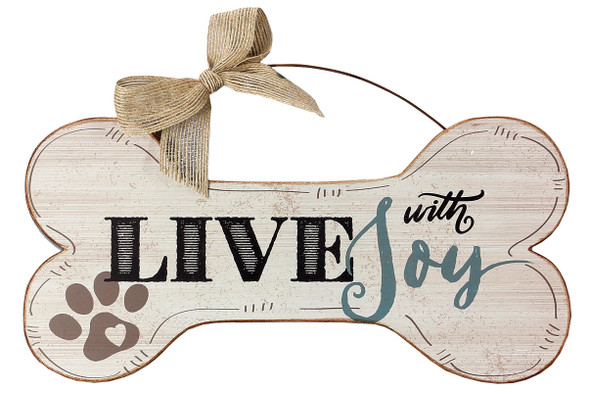 Live with Joy - Wood Bone Shaped Wall Sign 16480D