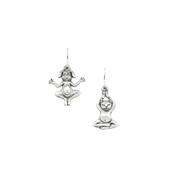 Yoga Cat and Yoga Dog Pewter Drop Earrings 7424EFP