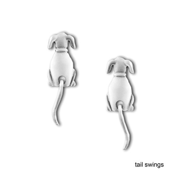 Dog Swinging Tail Earrings Pewter 1044/1EP