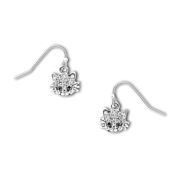 Crystal Cat Pewter Drop Earrings 4089EFC