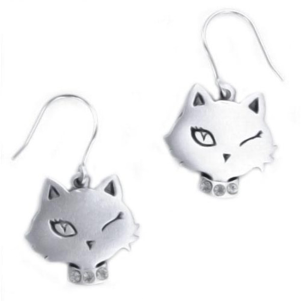 Cat Winking Head Pewter Earrings 8665EFP