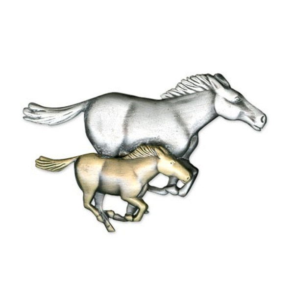 Two Horses Galloping Two-Toned Pewter Pin 6396PT