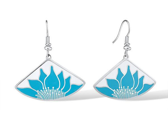 Lotus White Blue Laurel Burch Earrings -  5089W