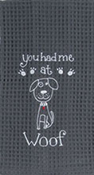 Dog Woof Embroidered Waffle Cotton Towel - F0778