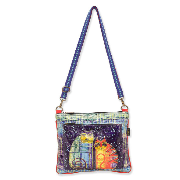 Laurel Burch Batik Felines Foiled Canvas Crossbody Tote – LB8061