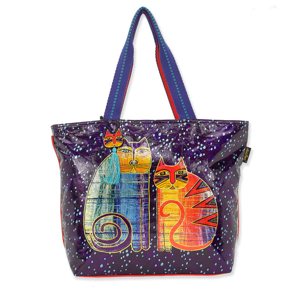 Laurel Burch Batik Felines Foiled Canvas Shoulder Tote – LB8060