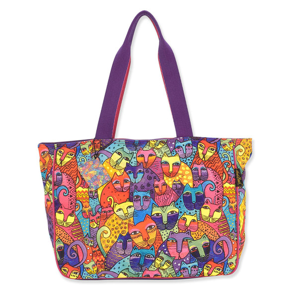 Laurel Burch Feline Tribe Canvas Shoulder Tote LB8120