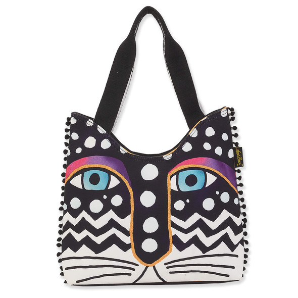 Laurel Burch Feline Tribe Canvas Magnificat Black and White Dot Scoop Tote LB8140A