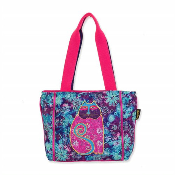 Laurel Burch Floral Batik Feline Canvas Medium Tote – LB8091