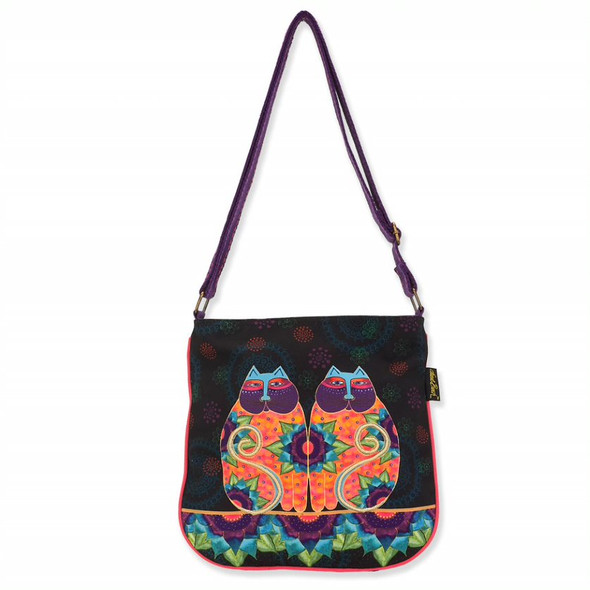 Laurel Burch Canvas Celestial Lotus Cats Crossbody Tote – LB8102