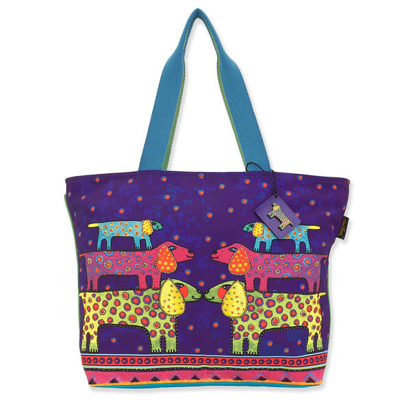 Laurel Burch Dogs Canine Family Canvas Shoulder Tote – LB8160