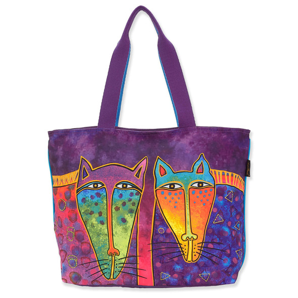 Laurel Burch Wild Ones Felines Canvas Shoulder Tote – LB8220