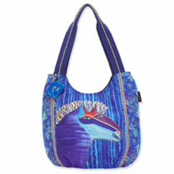 Laurel Burch Blue Batik Horse Canvas Scoop Tote – LB8180