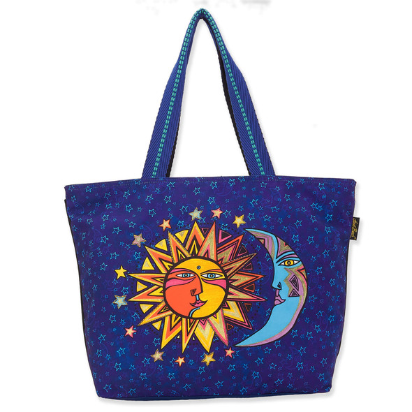 Laurel Burch Celestial Sun and Moon Canvas Shoulder Tote – LB8080