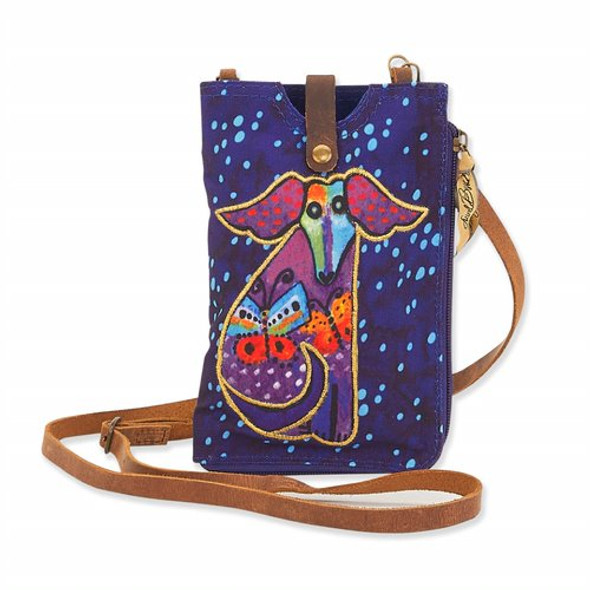 Laurel Burch Pup and Butterflies Canvas Crossbody Tote – LB8055F