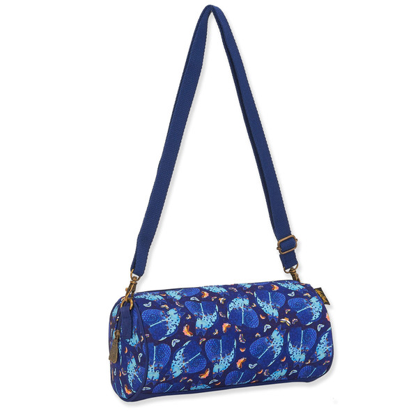 Laurel Burch Indigo Cats and Butterflies Canvas Crossbody Satchel Tote – LB8230C