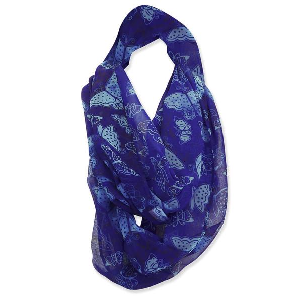 Laurel Burch Indigo Blue Butterflies Artistic Infinity Scarf - LBI227