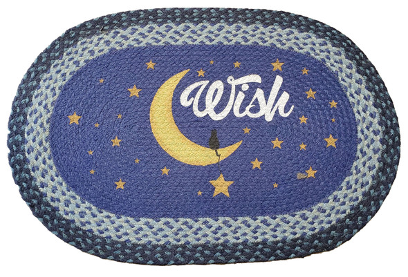 """Wish Oval Hand Printed Braided Patch Floor Earth Rug 20""""x30"""" - OP-362-WISH"""