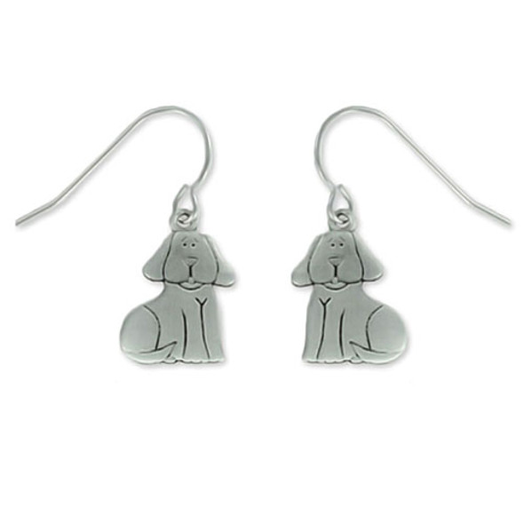 Dog Sitting Pewter Drop Earrings 3325EFP