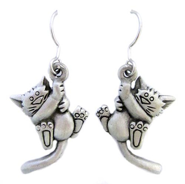 Cat Fishhook Hangin Pewter Earrings 3694EFP