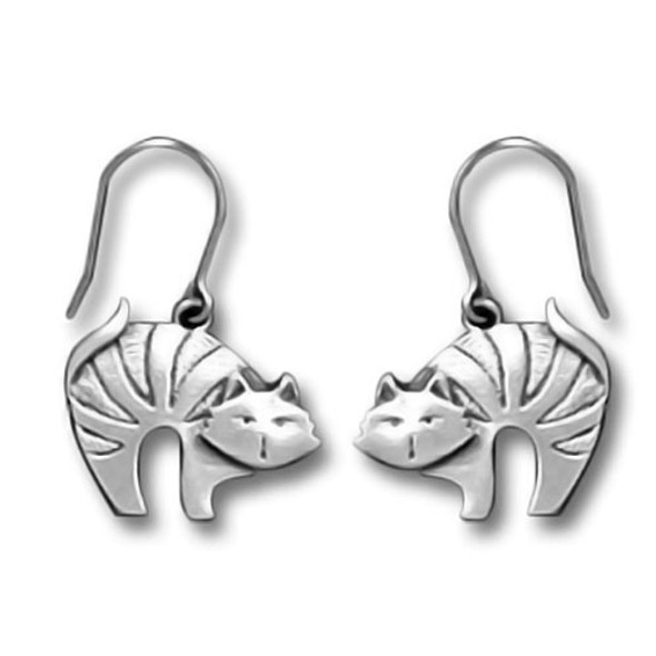 Cat with Arched Back Pewter Drop Earrings - 3779EFP