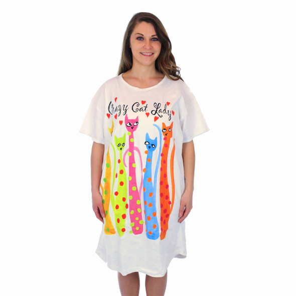 "Cat Theme Sleep Shirt Pajamas ""Crazy Cat Lady"" 530OT"