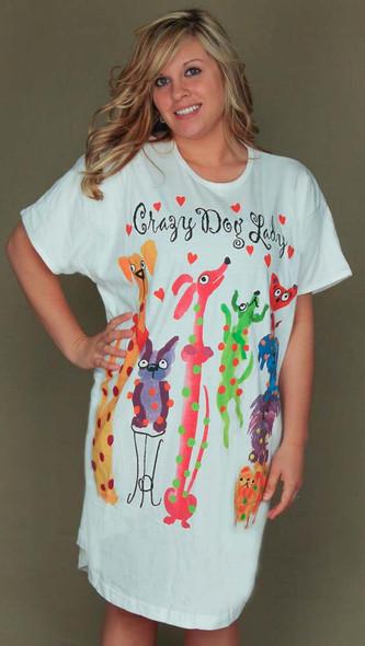 """Dog Theme Sleep Shirt Pajamas """"Crazy Dog Lady"""" 551OT"""