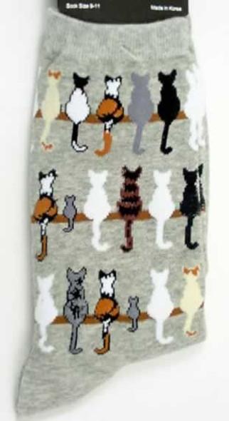 """Cat Socks """"Cat Tails"""" - Grey - F15H065-01"""