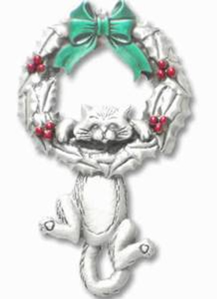 Cat Hanging from Christmas Wreath Pin - 6624CP