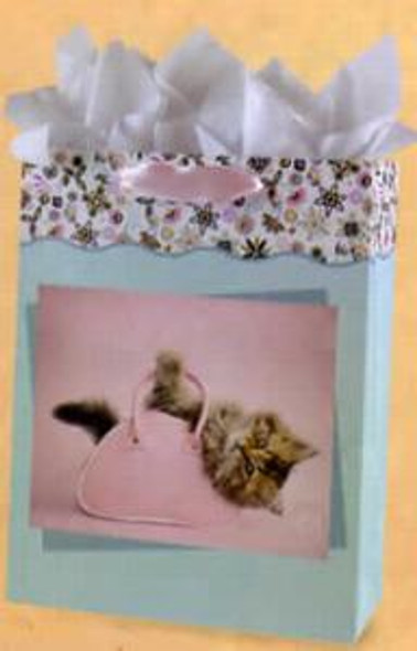 Cat Large Gift Bag w Tissue & Card Art by Rachael Hale - BAG53041