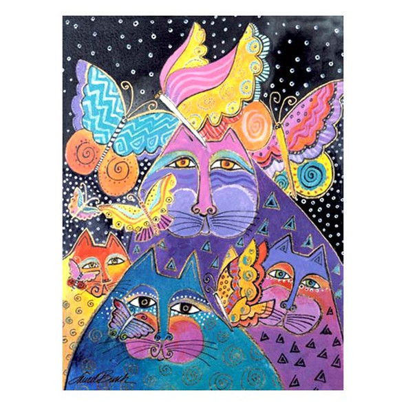 """Laurel Burch Card Birthday """"Cats & Butterflies"""" - BDG13232"""