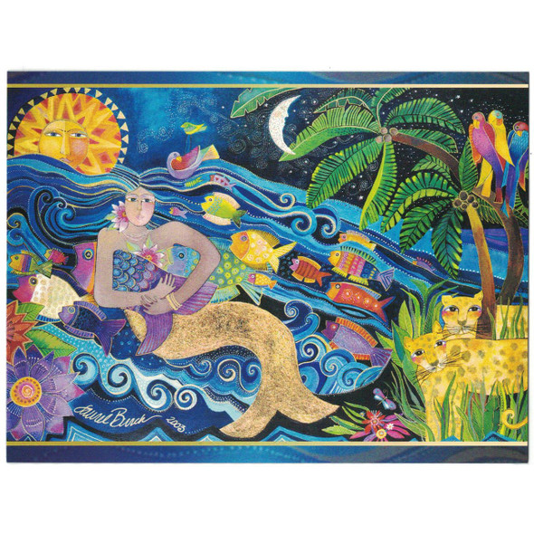 Laurel Burch Card  Birthday - Mermaid Mural - BDG44843 High Quality Scan