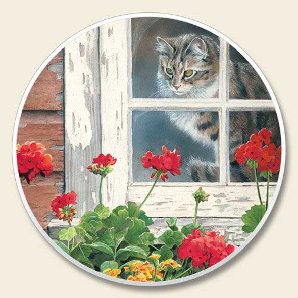 Cat in Window Coaster for Car CC-382